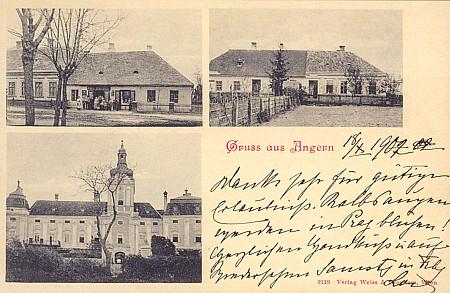 Stará pohlednice z Bujanova, vlevo dole záběr stavby, přetištěný později v knize Výlety za zajímavostmi Českokrumlovska (2003) jako údajný zámek v Rybníce