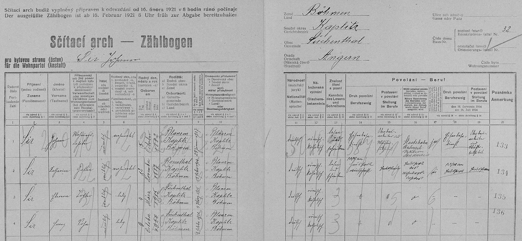 """Arch sčítání lidu z roku 1921 pro stavení čp. 32 v Bujanově s rodinou Hanse Schiera, zde psaného jako """"Johann Šír"""" a v rubrice """"Postavení v povolání"""" označeného jako """"Oberbauarbeiter und Wächtersubstitut"""", tj. dělník na železničním svršku a zástupce traťového hlídače"""
