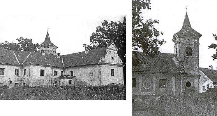 Snímky zámku a zámecké kaple v Rybníku před demolicí v sedmdesátých letech 20. století (zřejmě 1979)