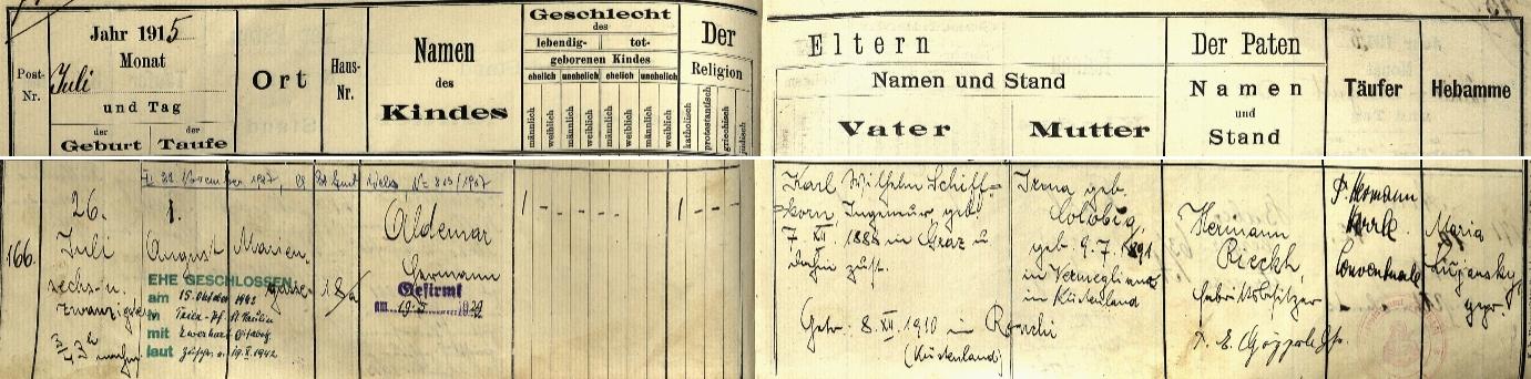 Záznam o jeho narození v křestní matrice farního kostela Panny Marie Pomocné ve Štýrském Hradci s přípisem o úmrtí