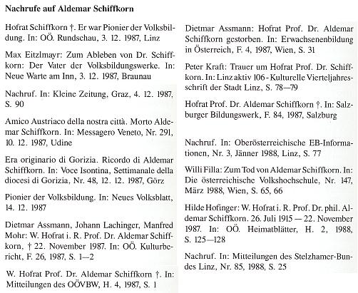 Výčet nekrologů provázejících Schiffkornův skon tvoří závěr soupisu jeho díla, který pořídil Aldemar Schiffkorn mladší