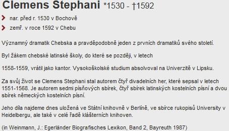 Clemens Stephani na stránkách Encyklopedie města Chebu