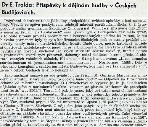 Zpráva PhDr. Emiliána Troldy o Klementu Stephanim a jeho vztahu k jižním Čechám