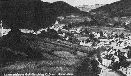 Klení za války na pohlednici firmy Josef Prokopp z Vídně (O.D. znamená župa Ober-Donau), na níž je označeno jako letovisko