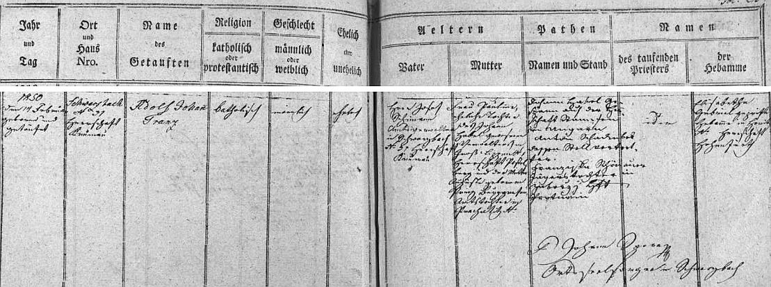 Záznam v matrice farní obce Černá v Pošumaví svědčí o tom, že se narodil Josefu a Paulině Schimannovým v domě čp. 31