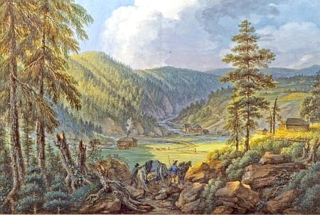 Kvaš Fedinanda Runka z roku 1804 má název Pohled na Vydru u Modravy a vznikl téměř sto let předtím, než sem Schimann přišel
