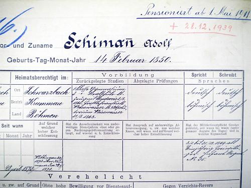 """Jeho """"Dienstliste"""" lesníka ve službách rodu Schwarzenbergů"""
