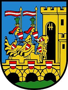 Znak města Vöcklabruck, kde zemřel