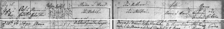 Německy psaný záznam prachatické křestní matriky o narození jeho babičky z otcovy strany Marie Zárubové dne 20. listopadu roku 1826
