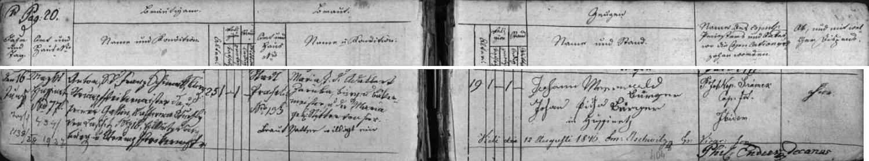 Německy psaný záznam prachatické oddací matriky o zdejší svatbě jeho prarodičů Antonína Šimka (zde Anton Schimek) a Marie Zárubové z Prachatic dne 16. června roku 1846