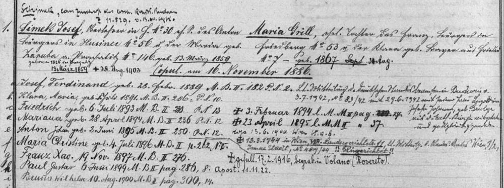 Záznam z rodového katastru farní obce Přední Výtoň, v němž figuruje jako prvorozený syn rodiny, která až do roku 1938 užívala otcovo příjmení Šimek v českém znění