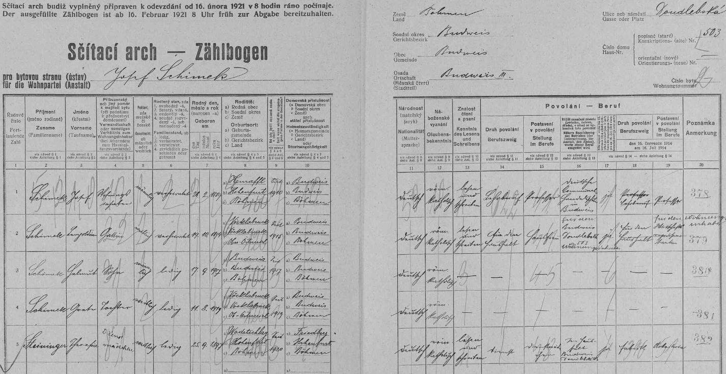 Vlastní rukou tu na archu sčítání lidu z roku 1921 zaznamenal v domě na českobudějovické Doudlebské (dnes Dukelské) ulici čp. 503 data svá (označil se jako profesor na německé komunální obchodní škole v Českých Budějovicích /Deutsche Kommunal-Handelsschule Budweis/), své ženy Leopoldine, narozené 19. října 1894 vhornorakouském Vöcklabrucku, syna Helmuta, narozeného 17. září 1917 v Českých Budějovicích, dcery Grete, narozené 11. srpna 1919 ve Vöcklabrucku, i služky Theresie Steiningerové, narozené roku 1897 v šumavských Hrušticích (Wadetstift)