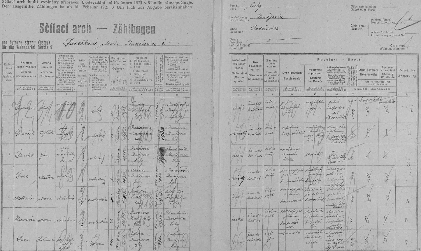 """Arch sčítání lidu z roku 1921 pro statek čp. 1 v Radošovicích, za povšimnutí stojí různě vyplněná národnost ubratrů Adalberta (Vojtěcha) a Jana, z nichž """"německý"""" Vojtěch Šimeček   se stal Anniným manželem"""