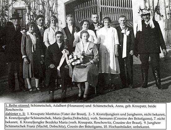 Svatba Anny Kraupatzové a Adalberta Schimetscheka v Radošovicích dne 20. listopadu roku 1926