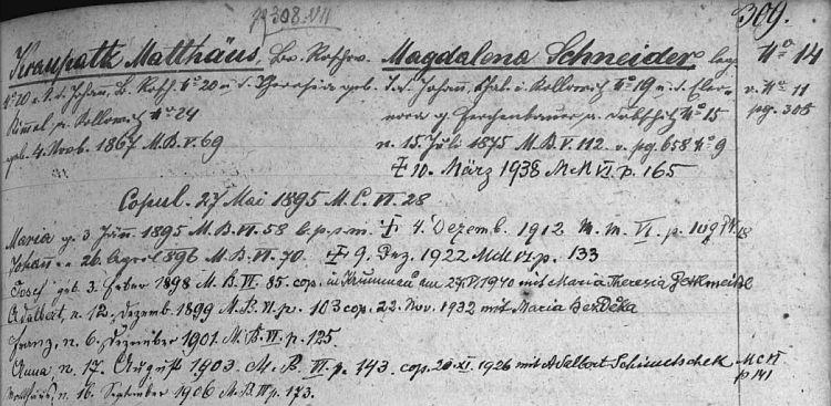 Záznam rodového katastru farní obce Strýčice o jejích rodičích a sourozencích, kde figuruje i s přípisem o svatbě