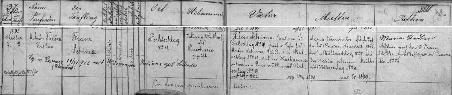 Záznam o jeho narození v prachatické křestní matrice s pozdějším přípisem o jeho svatbě 19. května roku 1923 ve štýrském městě Eisenerz s Julianou Hörmannovou, roz. Schusterovou