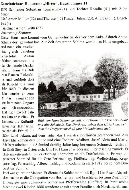 Takto Hans Schima ve vzpomínce zachytil petrovickou pastoušku a starou kovárnu při cestě s křížkem, u něhož seslavily májové pobožnosti
