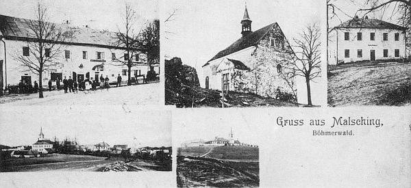 Pohlednice Malšína z roku 1909 - rok předtím se ve škole, zachycené tu zcela vpravo vedle kostelíka naTurmbergu, narodil