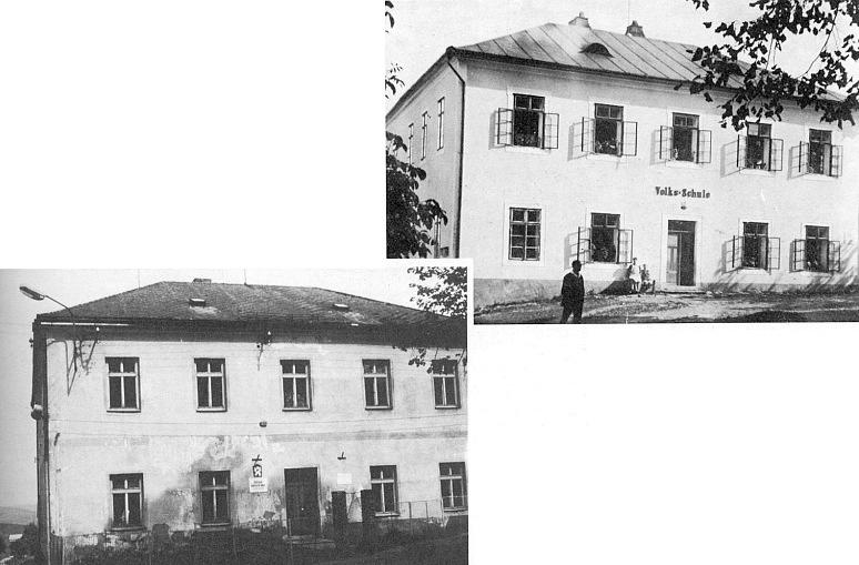 Škola v Malšíně, postavená v roce 1858, za stara a po válce někdy počátkem šedesátých let minulého století...
