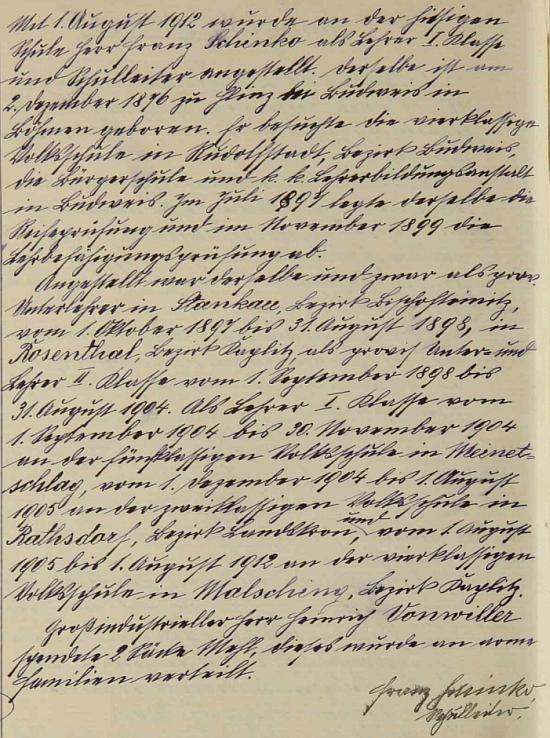 Takto zaznamenal ve školní kronice svůj příchod do Dolní Hraničné (Dolního Markschlagu)