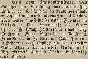 Zpráva o jeho jmenování na školu v Malšíně, hned za ním čteme jméno JakobaMicko