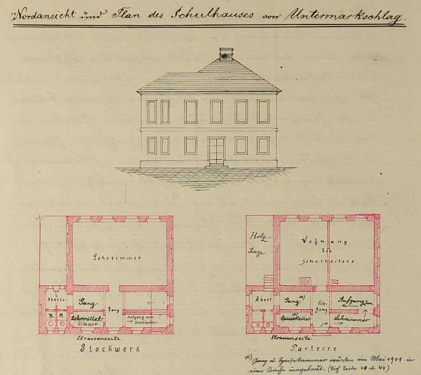 Takto byla školní budova v Dolním Markschlagu zakreslena ve školní kronice (viz i Alois Sonnleitner)