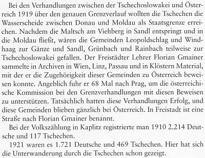 Údaj o národnostním složení obyvatel Kaplice z jeho knihy