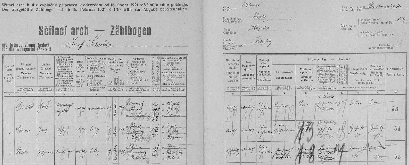 """Arch sčítání lidu z roku 1921, kdy Josef Schicho """"nejmladší"""" ještě nebyl na světě, pro kaplický dům č. 150 na """"Pucheřské silnici"""" (Bucherserstraße)"""