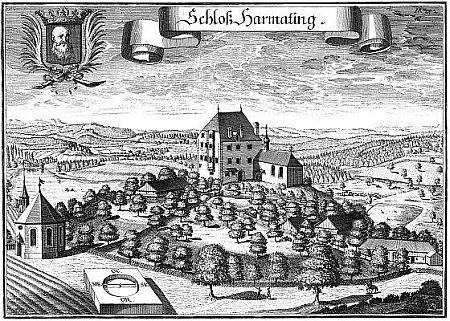 Zámek Harmating kolem roku 1700 a dnes