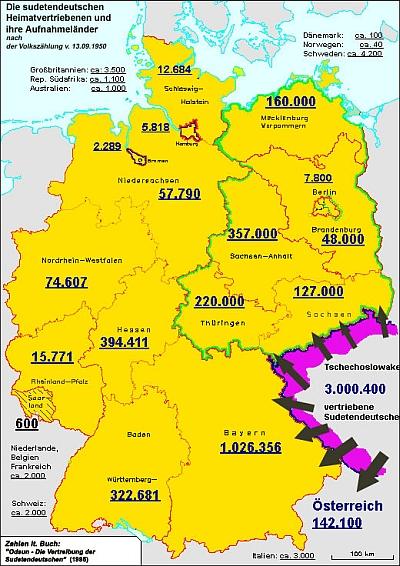 """Mapka, doprovázející článek Ulriky Prägerové v Ethnomusicology Review, zachycuje počty """"odsunutých"""" Němců v dnešních spolkových zemích k datu sčítání lidu v září 1950"""
