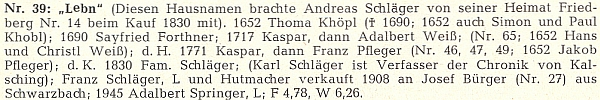 """Rodný dům čp. 39, zvaný """"Lebn"""" - toto jméno si Andreas Schläger, který dům koupil roku 1830, přinesl s sebou ze svého původního bydliště ve Frymburku čp. 14"""