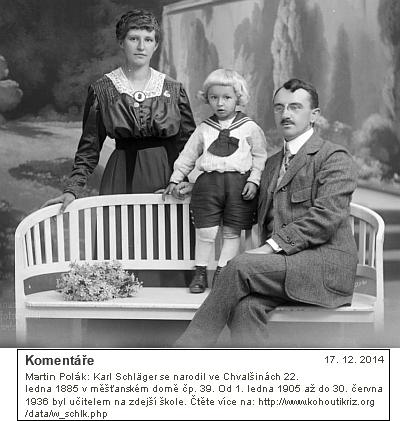 Se ženou a dětmi na snímcích z let 1918 a 1924, provázených vinternetové fotobance doporučením na Kohoutí kříž