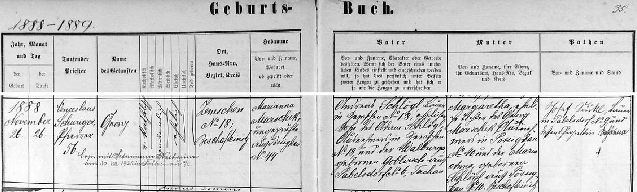 Záznam křestní matriky farní obce Dubec o jeho narození v Třemešném na Šumavě čp. 18, kde hospodařil se svou ženou Margarethou, dcerou výminkáře Georga Marschika z Bezděkova (Pössigkau) čp. 40 a jeho ženy Marie Anny, roz. Schlöglové z Bezděkova čp. 10 (Bezděkov je dnes částí obce Třemešné na Šumavě) Georgův otec Andreas Schlögl, syn Adama Schlögla a Walburgy, roz. Goblirschové z Pavlíkova (Pabelsdorf) čp. 6 (Pavlíkov je dnes rovněž jen částí obce Třemešné na Šumavě), kteří na stavení čp. 18 hospodařili předtím - pozdějí přípis nás pak zpravuje o svatbě Georga Schlögla dne 30. srpna 1920 ve Falknově nad Ohří (dnešní Sokolov) s Katharinou, roz. Petermannovou