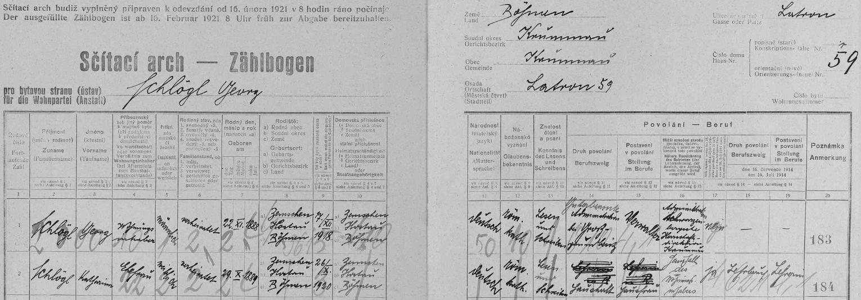 Arch sčítání lidu z roku 1921 pro dům čp. 59 na českokrulovském Latráně, kde tehdy bydlil se svou ženou Katharinou (29. října 1889 v Třemešném na Šumavě jako její manžel), učitelkou v důchodu