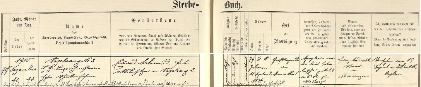 Záznam o jeho úmrtí ve Vogelsangu a pohřbu v Anníně na stránkách kašperskohorské úmrtní matriky
