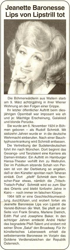 Její nekrolog ve čtrnáctideníku rakouského krajanského sdružení