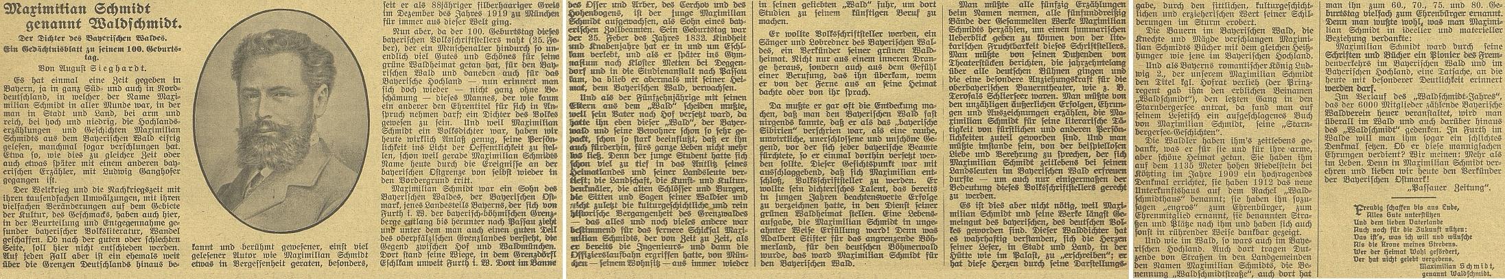 """Ke 100. výročí jeho narození přetiskl českobudějovický německý list tento článek z """"Passauer Zeitung"""", který označuje rok 1932 za """"Waldschmidt-Jahr"""" (byl to ovšem i """"rok Goetheův"""")"""