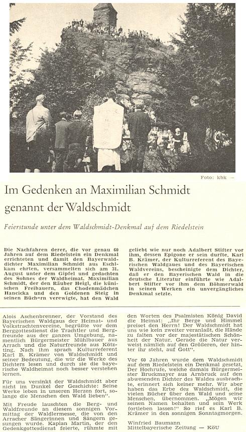 Článek Winfrieda Baumanna o pamětní bohoslužbě pod Waldschmidtovým památníkem na hoře Riedelstein