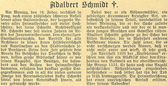 Nekrolog v časopise Waldheimat