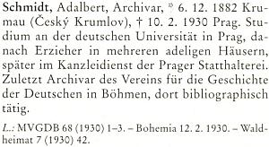 Jeho heslo v biografickém lexikonu k dějinám českých zemí