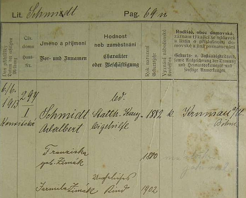 Pražská pobytová přihláška uvádí i jméno manželky a dcery Jarmily, užívající jako nemanželské dítě dívčí příjmení matčino, tj. Zimák