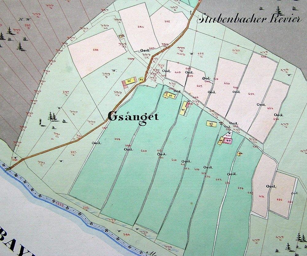 Gsenget na mapě stabilního katastru z roku 1837, revidované v osmdesátých letech devatenáctého století (viz iAnonymus - Gsenget)