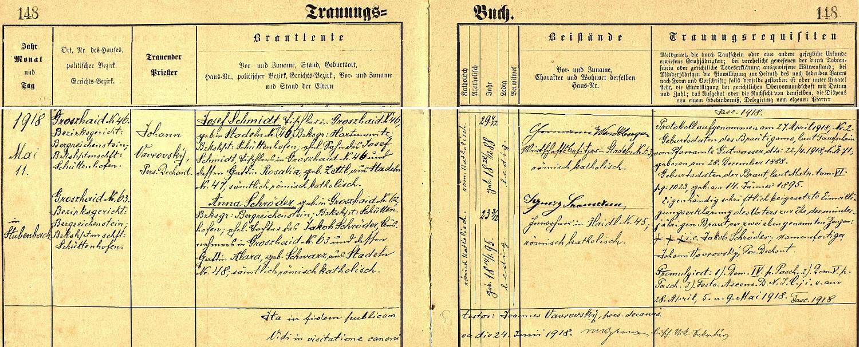 Tady si podle záznamu prášilské oddací matriky truhlář Josef Schmidt, narozený 28. prosince roku 1888 ve dnes zcela zaniklých Stodůlkách jako syn truhláře Josefa Schmidta, nyní bytem ve Velkém Boru (německy zde psáno Groszhaid, jde o osadu, která po druhé světové válce rovněž zcela zanikla) čp. 46, a Rosalie, roz. Zettlové ze Stodůlek čp. 47, bere v květnu 1918 v kostele sv. Prokopa v Prášilech za ženu Annu Schröderovou, dceru Jakuba Schrödera z Velkého Boru čp. 63 a jeho choti Klary, roz. Schwarzové ze Stodůlek čp. 48