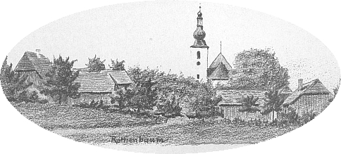 """Rodná ves Červené Dřevo, jak ji zachytil na kresbě tužkou spisovatel Anton Schott, který tu kdysi """"podučiteloval"""""""