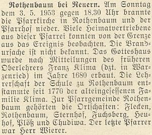 Zpráva krajanského měsíčníku s přesným datem ihodinou ničivého požáru kostela a fary v Červeném Dřevě roku 1953
