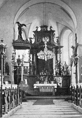 Vnitřek někdejšího kostela Panny Marie Bolestné v Červeném Dřevě