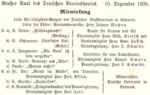 První zřejmě jeho účastí na akcích Deutsche Liedertafel byl klavírní doprovod dobročinného koncertu v Německém domě, kde se vedle skladeb Schumanna či Verdiho uváděla třeba  i píseň Jaroslava Jungmanna
