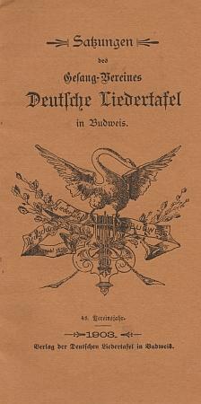 Obálka (1903) stanov pěveckého sdružení Deutsche Liedertafel v Českých Budějovicích s jeho emblémem z roku 1856, kdy tu bylo založeno