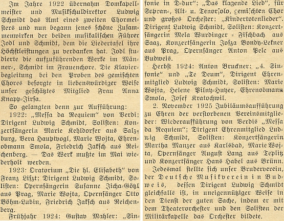 """Tady líčí ředitel německého učitelského ústavu Wenzel Wonesch nadšenými slovy """"vrcholné období"""" práce zdejšího sdružení Deutsche Liedertafel ve dvacátých letech dvacátého století, když se ujal role sbormistra LudwigSchmidt"""