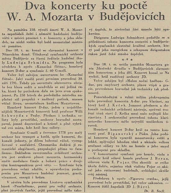 Referát protektorátního českobudějovického listu o koncertech ke 150. výročí úmrtí W. A. Mozarta v Německém domě, kde účinkoval pod Schmidtovým vedením symfonický orchestr města Budějovic a Willy Schweyda ti přednesl Mozartův houslový koncert D-dur